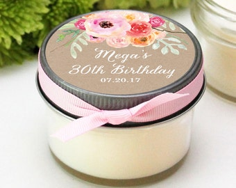 Set of 12 - 4 oz 30th Birthday Party Favors - Bouquet Design - Soy Candle Favor | Milestone Birthday Party Favor | Birthday Favor