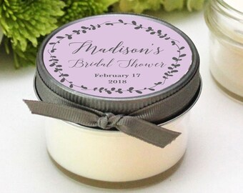 bridal shower favor candles laurel label design baby shower favors personalized shower favors soy candle favor set of 12