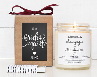 Will you be my Bridesmaid Gift | Maid of Honor Gift | Bridesmaid Candle | Maid of Honor Candle | Bridesmaid Proposal Gift - Chalkboard Heart