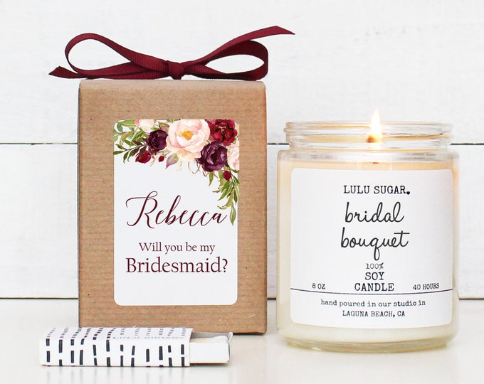 Will you be my Bridesmaid Gift | be my Maid of Honor Gift | Floral Bridesmaid Gift | Marsala Bridesmaid Candle - Marsala Label