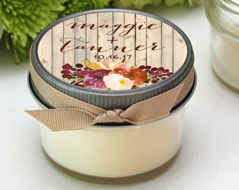 Wedding Favor Candles - Rustic Fall Wedding Favor Label Design - Fall Wedding Favors -- Personalized Wedding Favors -- Set of 12 - 4 oz