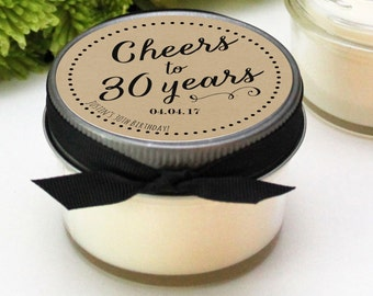 Set of 12 - 4 oz 30th Birthday Party Favors - Cheers Design - Soy Candle Favor | Milestone Birthday Party Favor | Birthday Favor