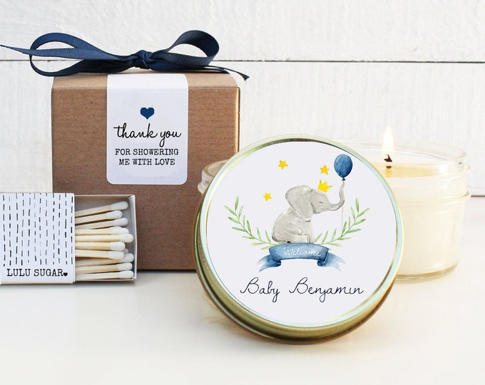 Baby Shower Favor Candles - Elephant Baby Shower Favor - Personalized Baby Shower Favors | Baby Shower Candles | Baby Shower