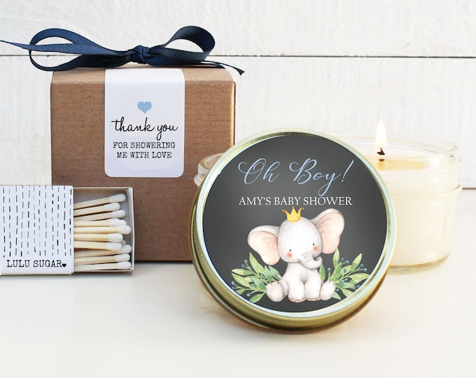 Boy Baby Shower Favor Candles - Oh Boy! Elephant Baby Shower Favor - Personalized Baby Shower Favors | Baby Shower Candles | Baby Shower