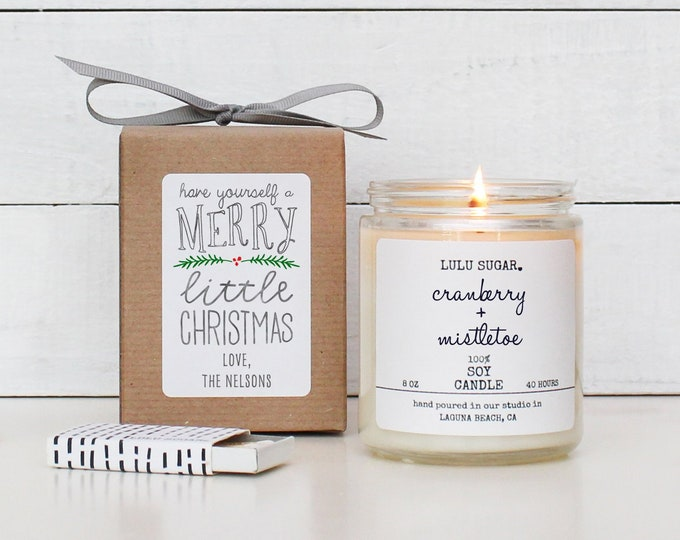 Personalized Christmas Candle   Christmas Gift   Christmas Decor   Holiday Candle   Send A Gift  Have Yourself A Merry Little Christmas Card