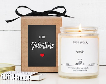 Valentine's Day Gift - Soy Candle | Be My Valentine Card | Candle Valentine's Day Gift | Best Friend Gift | Valentine Candle