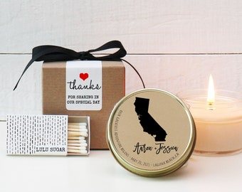 Wedding Favor Candles | State Candles | Destination Wedding Favors | State Themed Wedding Favors | Eco Friendly Favors