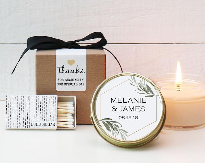 Wedding Favor Candles - Minimalist Label Design - Personalized Candle Favors   Minimalist Wedding Favors   Modern Favors   Greenery Favors