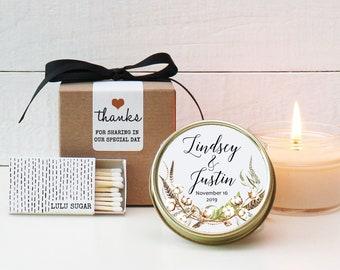 Wedding Favor Candles - Cotton Label Design - Fall Wedding Favors | Personalized Wedding Favors | Rustic Wedding Favor
