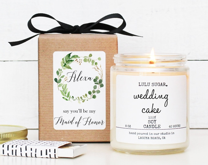 Will you be my Bridesmaid Gift | be my Maid of Honor Gift | Bridesmaid Proposal Gift | Bridesmaid Candle - Botanical Greenery Label
