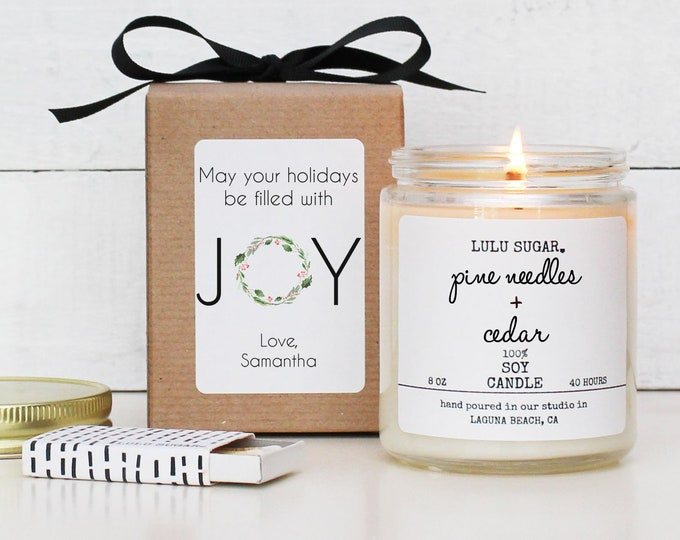 Personalized May Your Holidays Be Filled with Joy Candle   Christmas Gift   Christmas Decor   Holiday Candle   Send A Christmas Gift