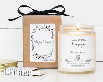 Easter Gift Soy Candle - 8 oz Candle - Happy Easter Botanical Label | Gift for Mom | Easter Candle Gift | Gift for her | Easter Basket Idea