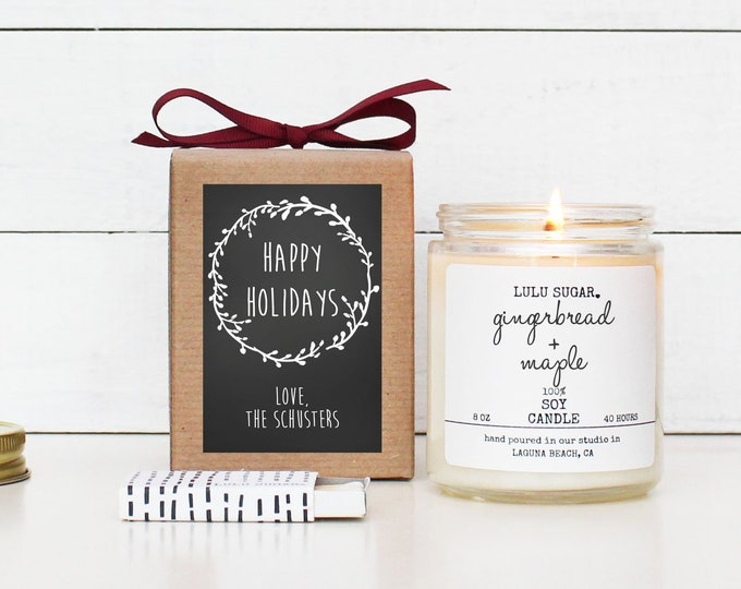 Personalized Happy Holidays Candle   Christmas Gift   Christmas Decor   Holiday Candle   Send A Christmas Gift   Holiday Scented Candle