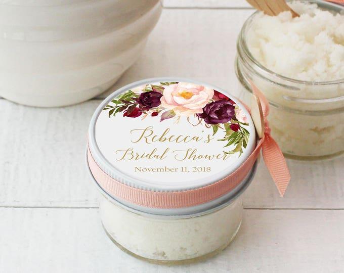 Sugar Scrub Bridal Shower Favor - All-Natural, Vegan - Marsala Floral Label | Rustic Shower Favor | Mason Jar Favor