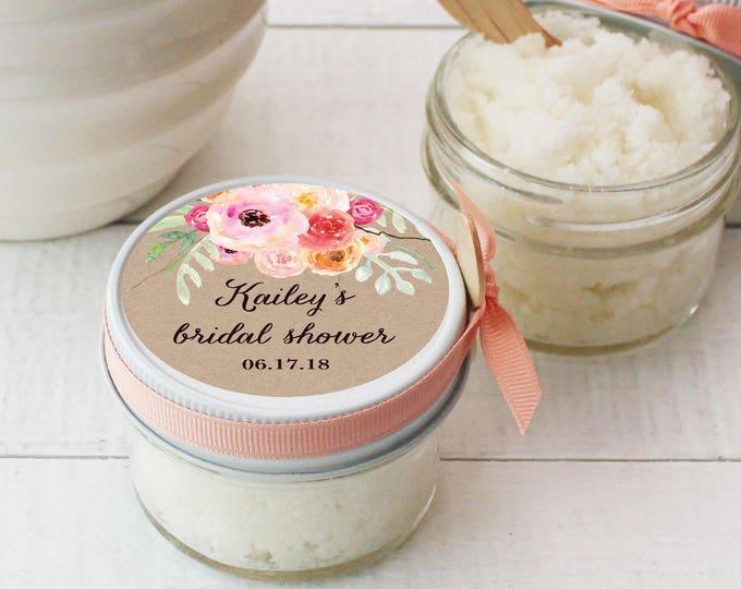 Bridal Shower Favor Body Polish | Sugar Scrub Bridal Shower Favor - All-Natural | Bouquet Label | Spa Shower Favor | Floral Shower Decor