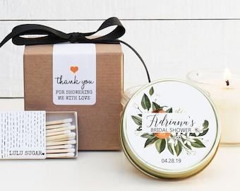 Bridal Shower Favors | Bridal Shower Candles | Orange Floral Favor Candles| Personalized Favor Candles | Citrus Candle Favors