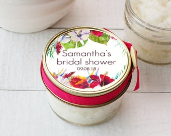 Bridal Shower Favor Body Polish | Tropical Flowers Favors - All-Natural, Vegan - Tropical Flowers Label | Vanilla Sugar Body Polish Favor
