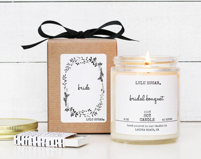 Bride Soy Candle - 8 oz Candle -  Soy Candle Gift | Engagement Gift | Premium Soy Candle | Bridal Shower Gift | Gift for Bride