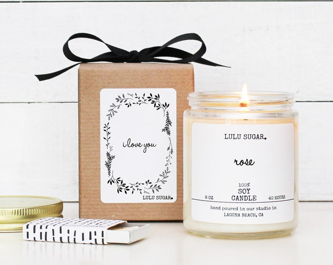 Love You Soy Candle - 8 oz Candle - Love You Candle Gift | Valentine's Day Gift | Premium Soy Candle | Gift for her | Scented Candle Gift