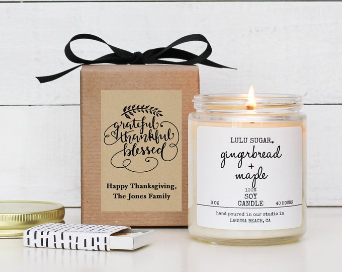 Personalized Thanksgiving Candle | Thanksgiving Gift | Thanksgiving Table | Thanksgiving Decor | Fall Candle | Grateful, Thankful Card