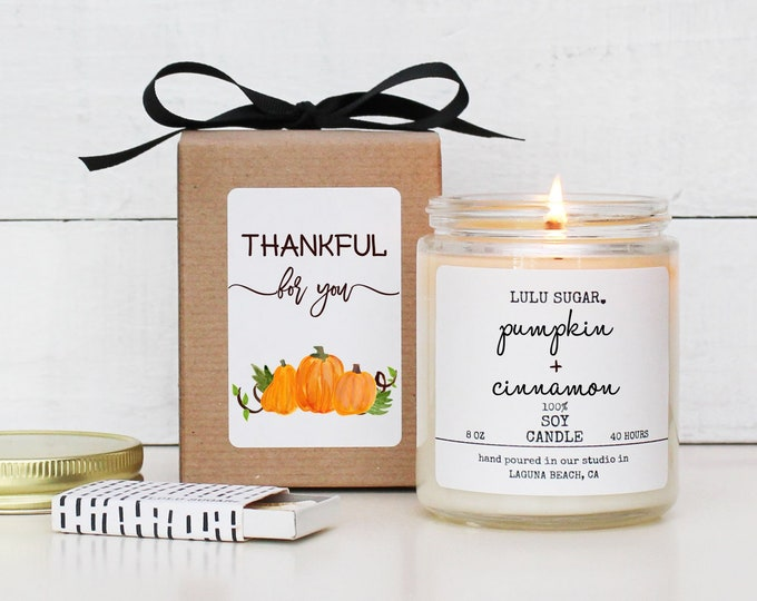 Personalized Thanksgiving Candle | Thanksgiving Hostess Gift | Thanksgiving Table | Thanksgiving Decor | Fall Candle | Thankful For You Card