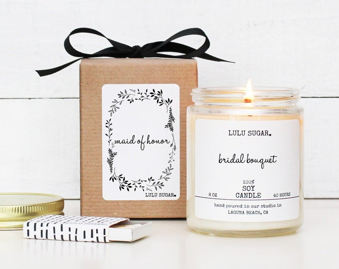 Maid of Honor Gift Candle - 8 oz Candle - Bridal Party Gift Candle | Maid of Honor Thank You Gift | Maid of Honor Proposal Gift Candle