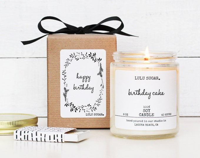 Birthday Gift Soy Candle - 8 oz Candle -  Happy Birthday Soy Candle Gift | Birthday Candle | Premium Soy Candle | Birthday Cake Candle