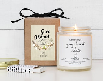 Personalized Thanksgiving Candle | Thanksgiving Hostess Gift | Thanksgiving Table | Thanksgiving Decor | Fall Scented Candle | Give Thanks