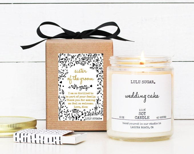 Sister of the Groom Gift   Personalized Sister of the Groom Gift Candle   Sister-In-Law Gift   Lulu Sugar Candles   Bridal Party Gift Idea