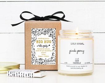 Big Hug Personalized Candle Gift - 8 oz Candle | Quarantine Gift | Thinking of you Gift | Miss You Gift | Long Distance Gift | Friend Gift