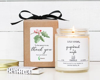 Corporate Holiday Gift Candle | Personalized Logo Candle | Company Gift with Logo | Custom Logo Gift | Custom Company Gift | Logo Candle