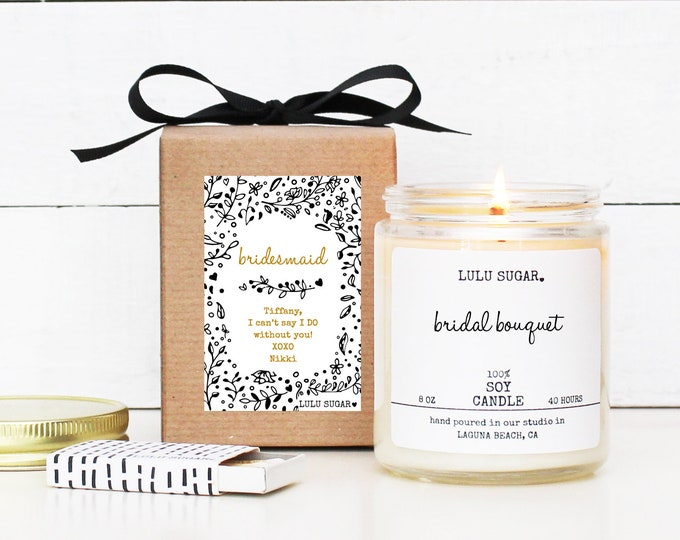 Bridesmaid Gift | Bridesmaid Proposal Gift | Personalized Bridesmaid Candle | Bridesmaid Gift Box | Maid of Honor Candle - Black and White