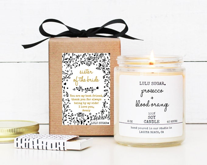 Sister of the Bride Gift | Personalized Sister of the Bride Gift Candle | Sister Gift | Lulu Sugar Candles | Bridal Party Gift Idea