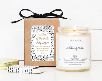 Mother of the Bride Gift   Personalized Mother of the Bride Soy Candle Gift   Gift for Mom   Lulu Sugar Candles   Day of Bridal Party Gift