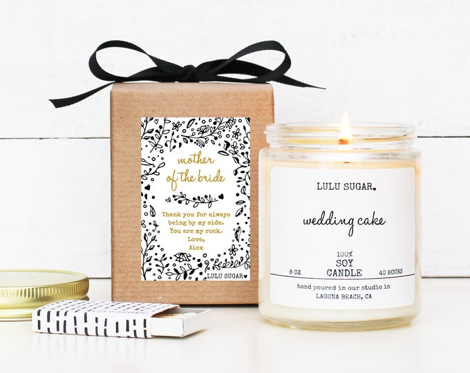Mother of the Bride Gift | Personalized Mother of the Bride Soy Candle Gift | Gift for Mom | Lulu Sugar Candles | Day of Bridal Party Gift