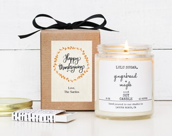 Personalized Thanksgiving Candle | Thanksgiving Hostess Gift | Thanksgiving Table | Thanksgiving Decor | Fall Candle | Be Thankful Card