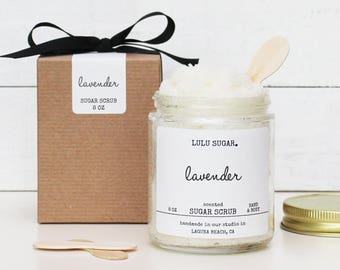 Lavender Sugar Scrub 8oz - All Natural - Vegan | Sugar Scrub Gift | Gift For Her | Gift For Mom | Gift for Friend | Wholesale Sugar Scrub