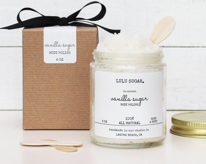 Vanilla Sugar Body Polish - 8oz - All Natural - Vegan | Original Sugar Scrub | Bridesmaid Gift | Gift for Her | Gift for Mom | Friend Gift