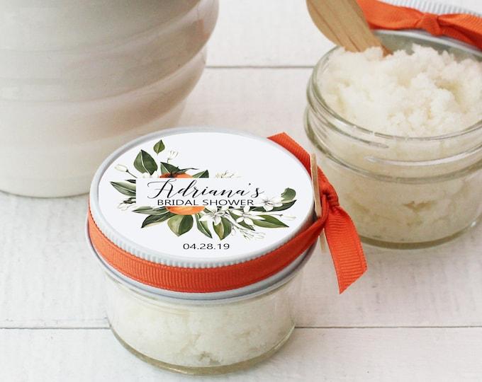 Sugar Scrub Shower Favors - Orange Floral Label- All-Natural Bridal Shower Favor | Baby Shower Favor | Vanilla Sugar Body Polish Favor