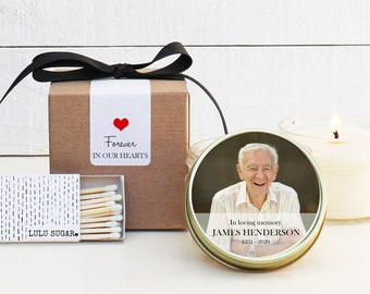 Photo Memorial Service Candles - Memorial Candles - Personalized Memorial Service Favors | In Memory of Candles | Funeral Photo Candle