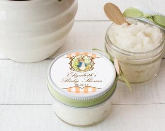 Set of 12- 4 oz - Sugar Scrub Favors - All-Natural, Vegan - Peter Rabbit Favors | Peter Rabbit Baby Shower Favors | Peter Rabbit Labels