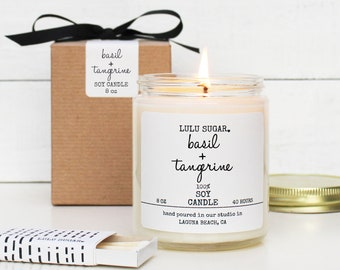 Basil + Tangerine Scented Soy Candle - 8 oz Candle - Soy Candle Gift | Kitchen Candle | Citrus Scented Candle | Fresh Scented Candle