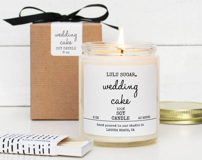 Wedding Cake Scented Soy Candle - 8 oz Candle -  Soy Candle Gift | Engagement Gift | Premium Soy Candle | Bridesmaid Gift | Wedding Gift