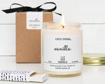 Vanilla Scented Soy Candle - 8 oz Candle -  Soy Candle Gift | Vanilla Candle | Premium Candle | Handmade Candle | Scented Candle