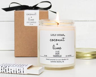 Coconut + Lime Scented Soy Candle - 8 oz Candle - Coconut Scented Candle | Lime Scented Candle | Tropical Scented Candle | Natural Candle