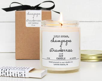 Champagne + Strawberries Scented Soy Candle - 8 oz candle | Soy Candle Gift | Gift for Her | Mother's Day Gift | Celebration Gift |Send Gift