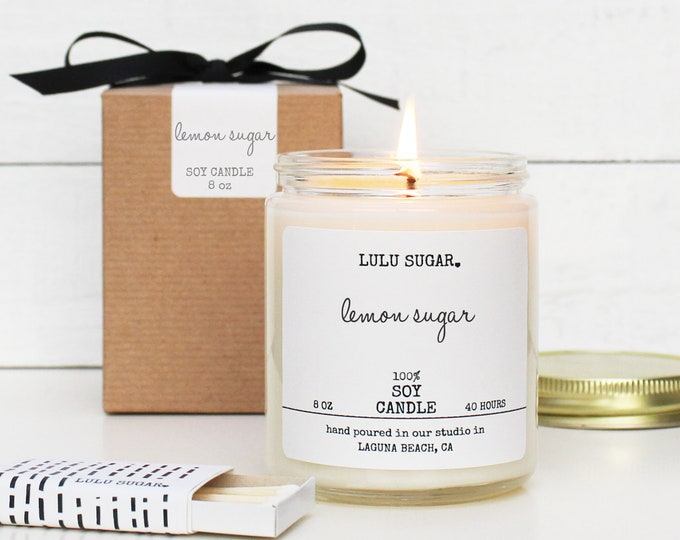 Lemon Sugar Scented Soy Candle - 8 oz jar | Scented Candle Gift | Fresh Scented Candle | Boxed Candle | Lemon Scented Soy Candle