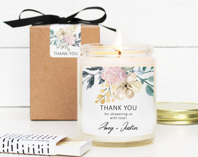 Wedding Favor Candles 8oz - Neutral Floral Thank You Label Design - Personalized Wedding Favors | Soy Candle Favor | Floral Wedding Favors