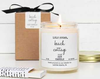 Beach Cottage Scented Soy Candle - 8 oz Candle - Soy Candle Gift | Outdoor Scented Candle | Fresh Scent Candle | California Scented Candle