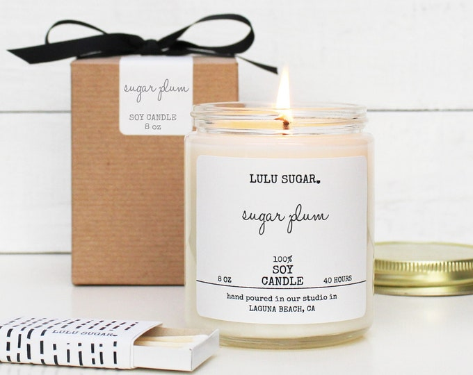 Sugar Plum Scented Soy Candle - 8 oz Candle - Soy Candle Gift | Holiday Scented Candle | Christmas Scented Candle |  Plum Scented